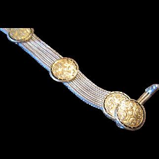 Turkish Bey Sim Sterling Mesh Bracelet with Vermeil Medallions