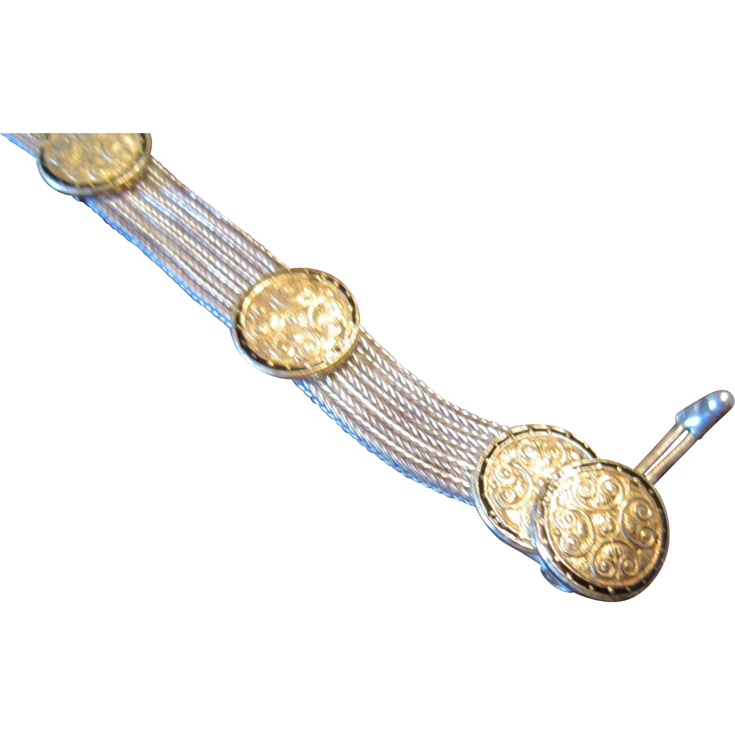 Turkish Bey Sim Sterling Mesh Bracelet with Vermeil Medallions