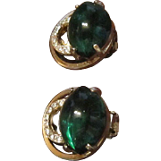 Eisenberg Earrings - Gold Tone, Emerald Green Art Glass, and Clear Rhinestones