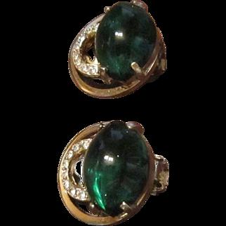 Eisenberg Earrings - Gold Tone, Emerald Green Art Glass, and Clear Rhinestones