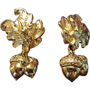 Oak Leaves and Acorns Gold Tone Earrings