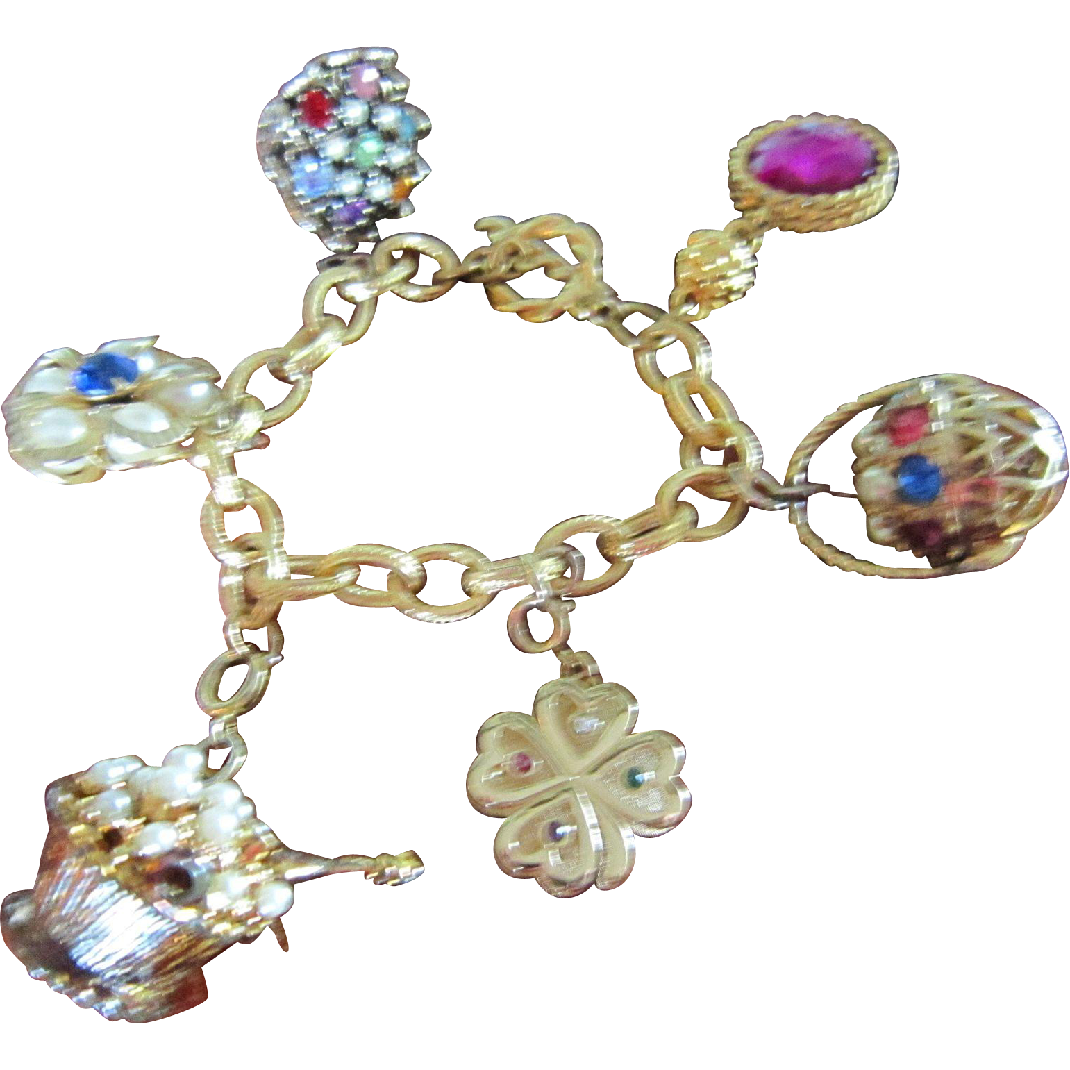 Gold Tone Charm Bracelet and Charms with Rhinestones and Faux Pearls