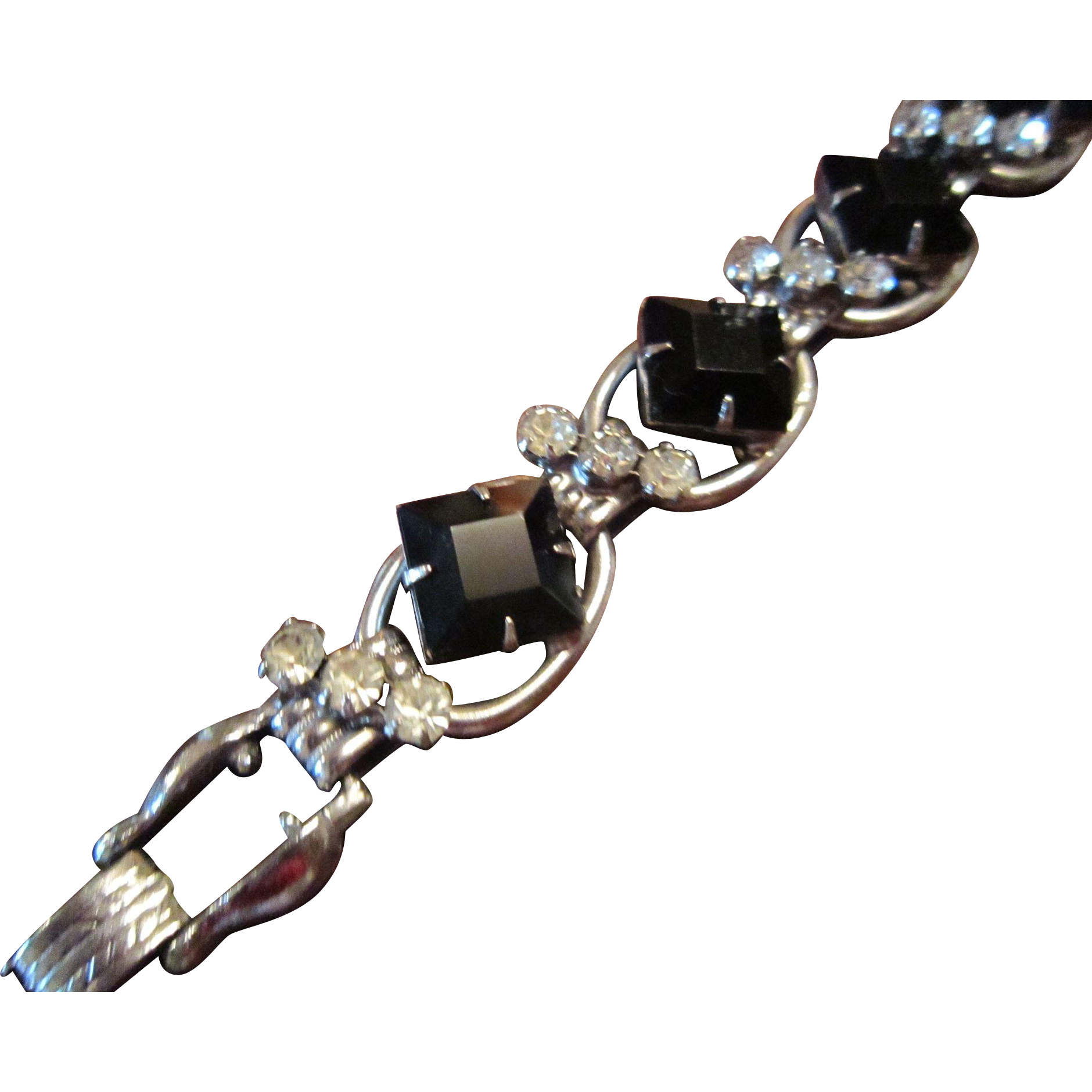 Juliana Link Bracelet with Black Glass, Clear Rhinestones and Silver Tone Base