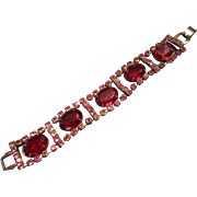Juliana Bracelet Large Red Glass with Pink Rhinestones Surrounding  Rectangles