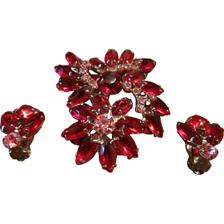 Red Navettes and Pink Cabochons in a Flower Brooch and Earrings