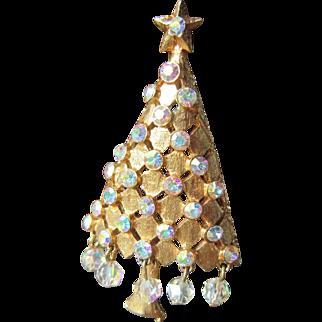 MYLU Christmas Tree Brooch with AB Rhinestones and Beads