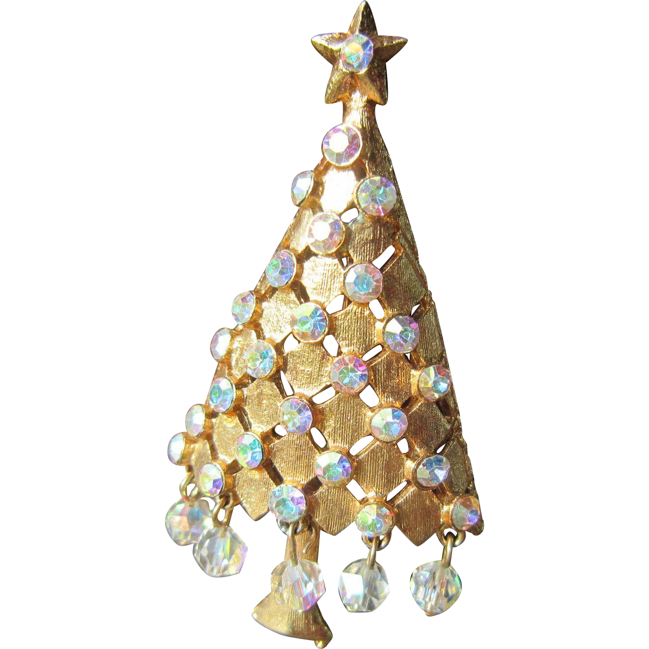 MYLU Christmas Tree Brooch with AB Rhinestones and Beads