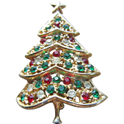 Hedy Christmas Tree Brooch with Red, Green and Clear Rhinestones on Gold Tone Plate