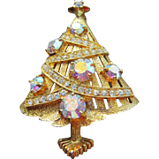 Eisenberg Ice Christmas Tree Brooch with Matte Gold, AB and Clear Rhinestones