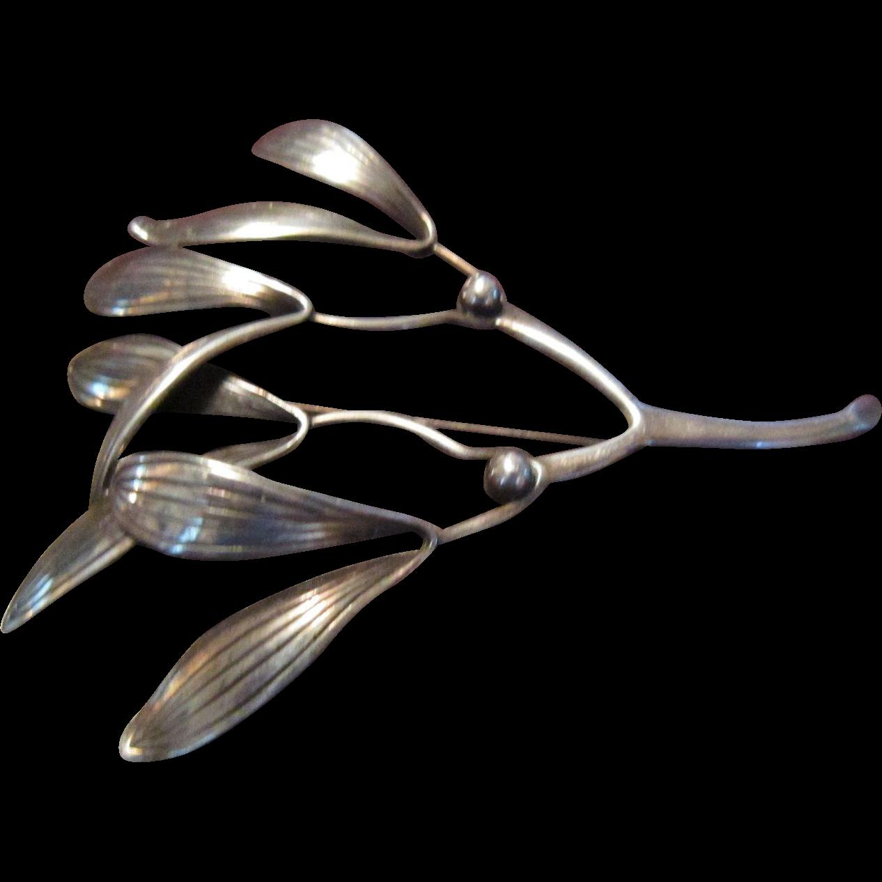 Anton Michelsen Mistletoe Sterling Brooch
