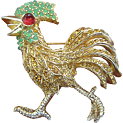 Ciner Gold Plated Rooster with Rhinestones