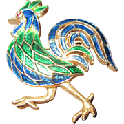 Trifari Rooster with Blue and Green Enamel on Gold Tone