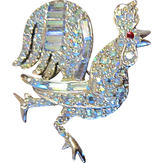 Pell Rooster with Clear and Rhinestone with Silver Tone Backing