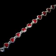 Volmer Bahner, A Dane, Deep Red Heart and Sterling Link Bracelet
