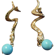 Gold Tone Snake with a Faux Turquoise Apple