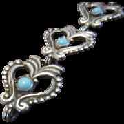 Margot de Taxco Heart Bracelet Sterling, Turquoise