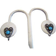 Native American Sterling Heart Earrings with a Small Turquoise