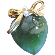Swoboda Brooch Jade Looking Heart with Gold Tone Bow and Pearls
