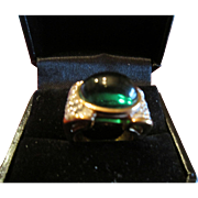 Gorgeous Panetta Ring Faux Emerald with Pave Clear Rhinestone