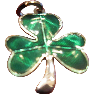 Beau Sterling Shamrock with Green Enamel