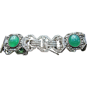 French Art Deco Bracelet with Chrysoprase and Genuine Marcasites