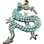 Kenneth Jay Lane (KJL) Dragon Pendant with Faux Turquoise and Gold Tone Metal