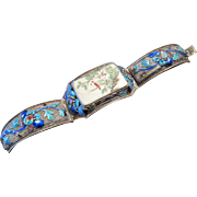 SOLD Old Chinese 800/1000 Silver Bracelet with a Painted Plaque and Enamels