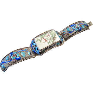 Old Chinese 800/1000 Silver Bracelet with a Painted Plaque and Enamels