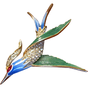 Trifari Swooping Blue Green Enamel and Clear Rhinestones