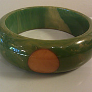 large Chunky Green with Yellow 4 dot Bakelite bangle bracelet
