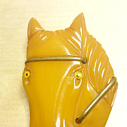 Butterscotch front face bakelite HORSE pin