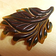RARE 2-tone cast carved 2 color laminated bakelite leaf pin