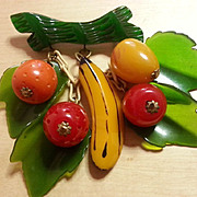 Vintage BAKELITE rare mixed fruit dangling brooch