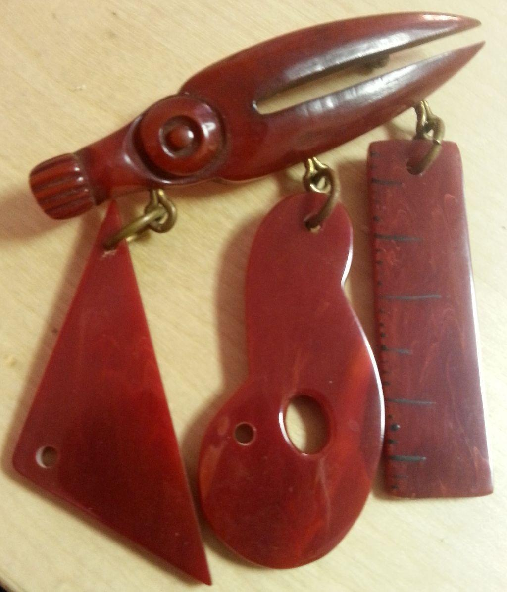 RARE Bakelite Figural Architect's Tools Brooch