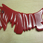 RED Bakelite Scotty Dog Pin