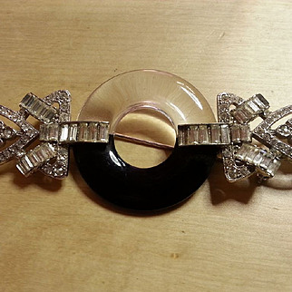 Kenneth Lane  Art Deco style paste pin with acrylic central circlet