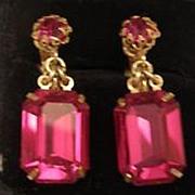 MIRIAM HASKELL fuschia emerald cut drop crystal earrings