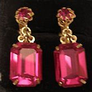MIRIAM HASKELL fuschia emerald cut drop crystal earrings