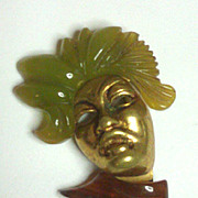 Rare French Female  Head Pin 2 color bakelite and goldtone