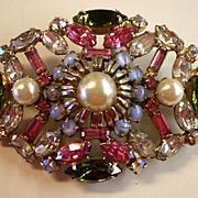 HOBE lovely rectangular pastel stone and  crystal pin