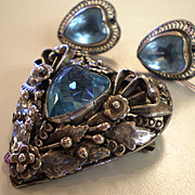 HOBE Sterling aquamarine heart pin/brooch and earrings set