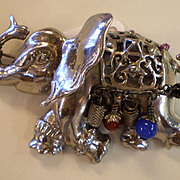 BROOKS Sterling TRUNK UP Elephant Pin with ball drops