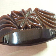 Brown Carved Bakelite Hinged Bracelet