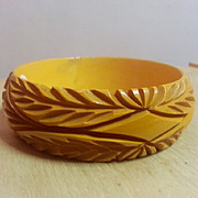 Butterscotch Leaf carved with diamond pattern bakelite bangle SALE!