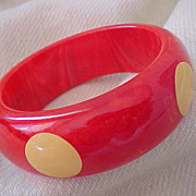 Thick Red with cream Bakelite 5 dot bangle bracelet
