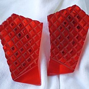 Glorious Translucent Brilliant RED bakelite dress clips (2) Pair