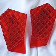 Glorious Translucent Brilliant RED bakelite dress clips (2) Pair