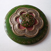 Green Bakelite Moghul styled circle pin