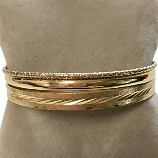 Trio of Vintage Gold Tone Bangles