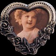 Heart Shaped Vintage Photo Pin